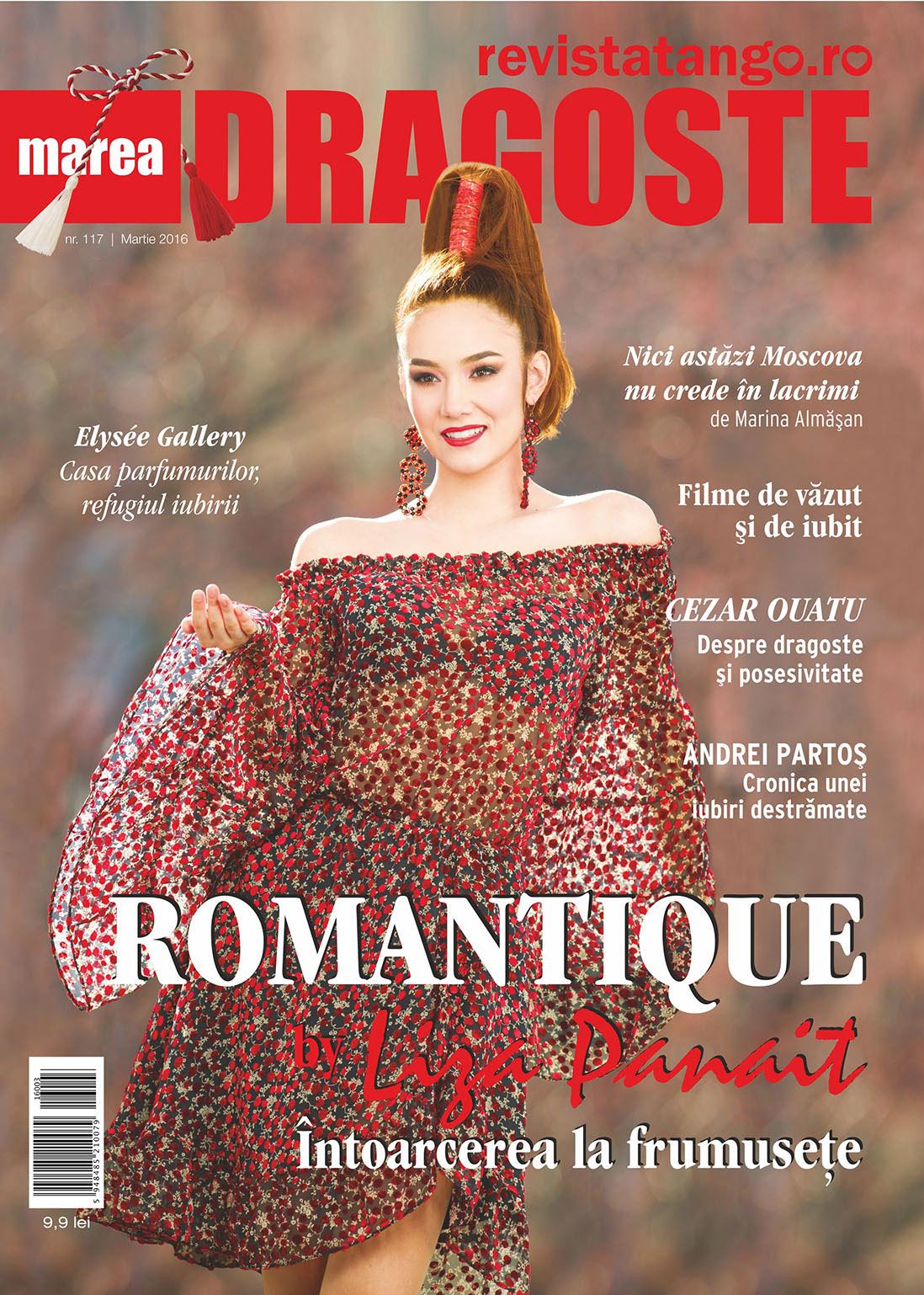 Maria Panait poartă o rochie creată de Liza Panait pentru copertele Marea Dragoste-revistatango.ro, nr. 117, martie 2016