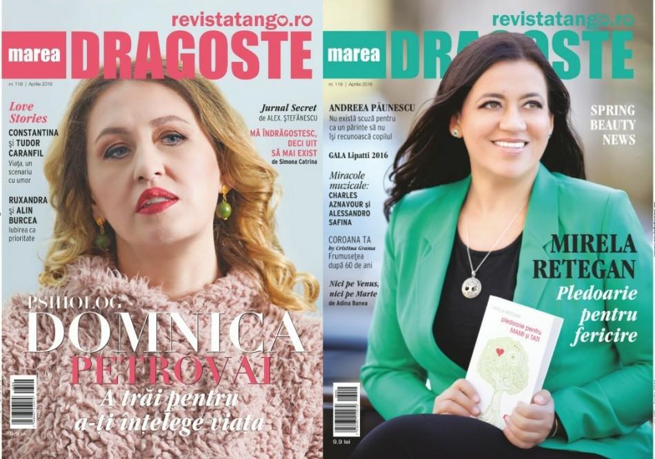 Mirela Retegan si Domnica Petrovai pe copertele Marea Dragoste-revistatango.ro, nr. 118, aprilie 2016