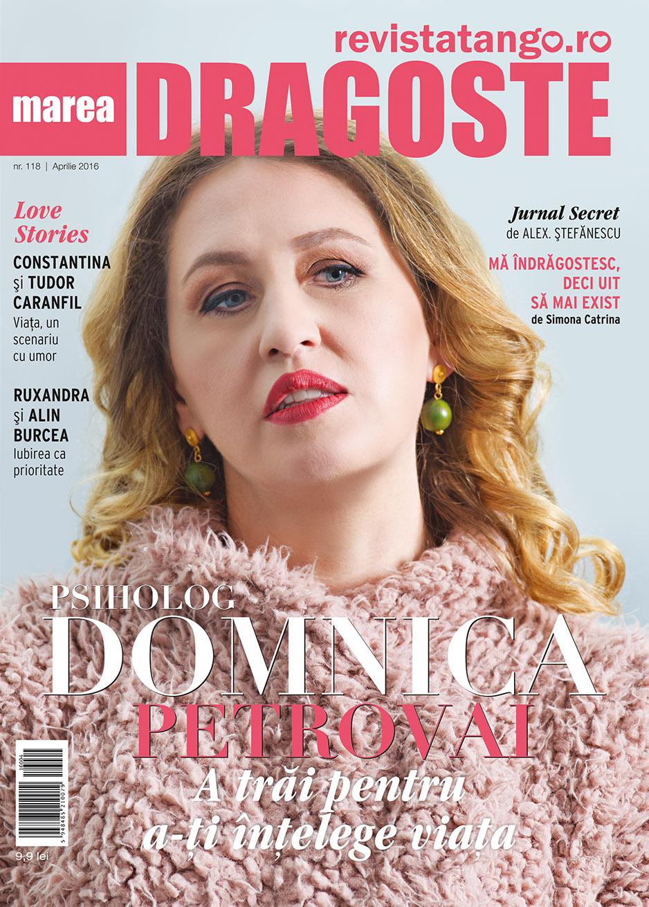Domnica Petrovai pe coperta Marea Dragoste-revistatango.ro, nr. 118, aprilie 2016