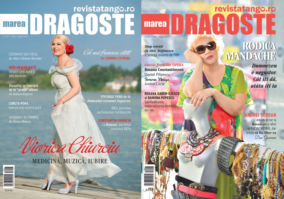 Viorica Chiurciu si Rodica Mandache pe copertele Marea Dragoste-revistatango.ro, nr. 131, iulie - august 2017