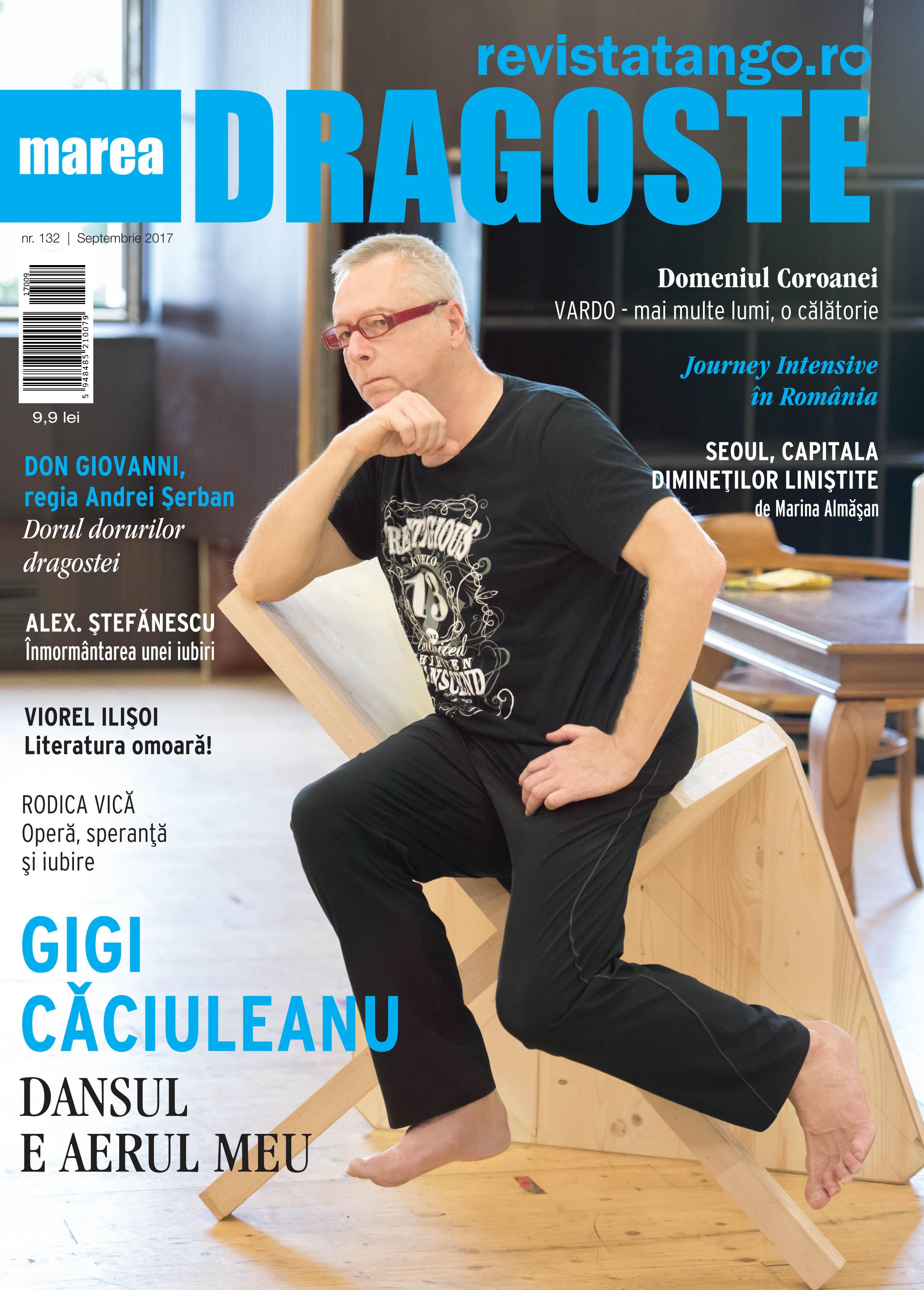 Gigi Caciuleanu Teodorescu pe coperta Marea Dragoste-revistatango.ro, nr. 132, septembrie 2017