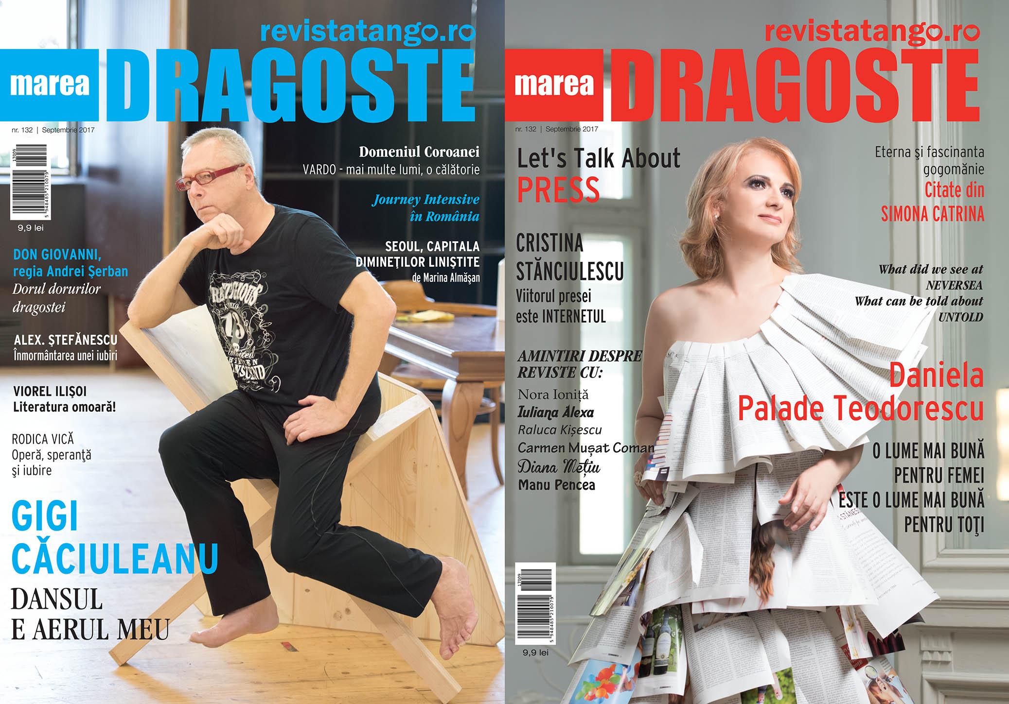 Gigi Caciuleanu si Daniela Palade Teodorescu pe copertele Marea Dragoste-revistatango.ro, nr. 132, septembrie 2017