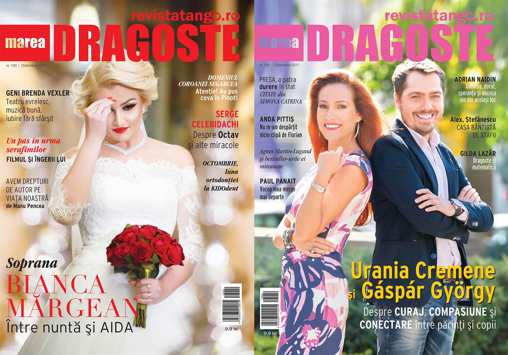 Bianca Margean respectiv Gáspár György si Urania Cremene pe copertele Marea Dragoste-revistatango.ro, nr. 133, octombrie 2017