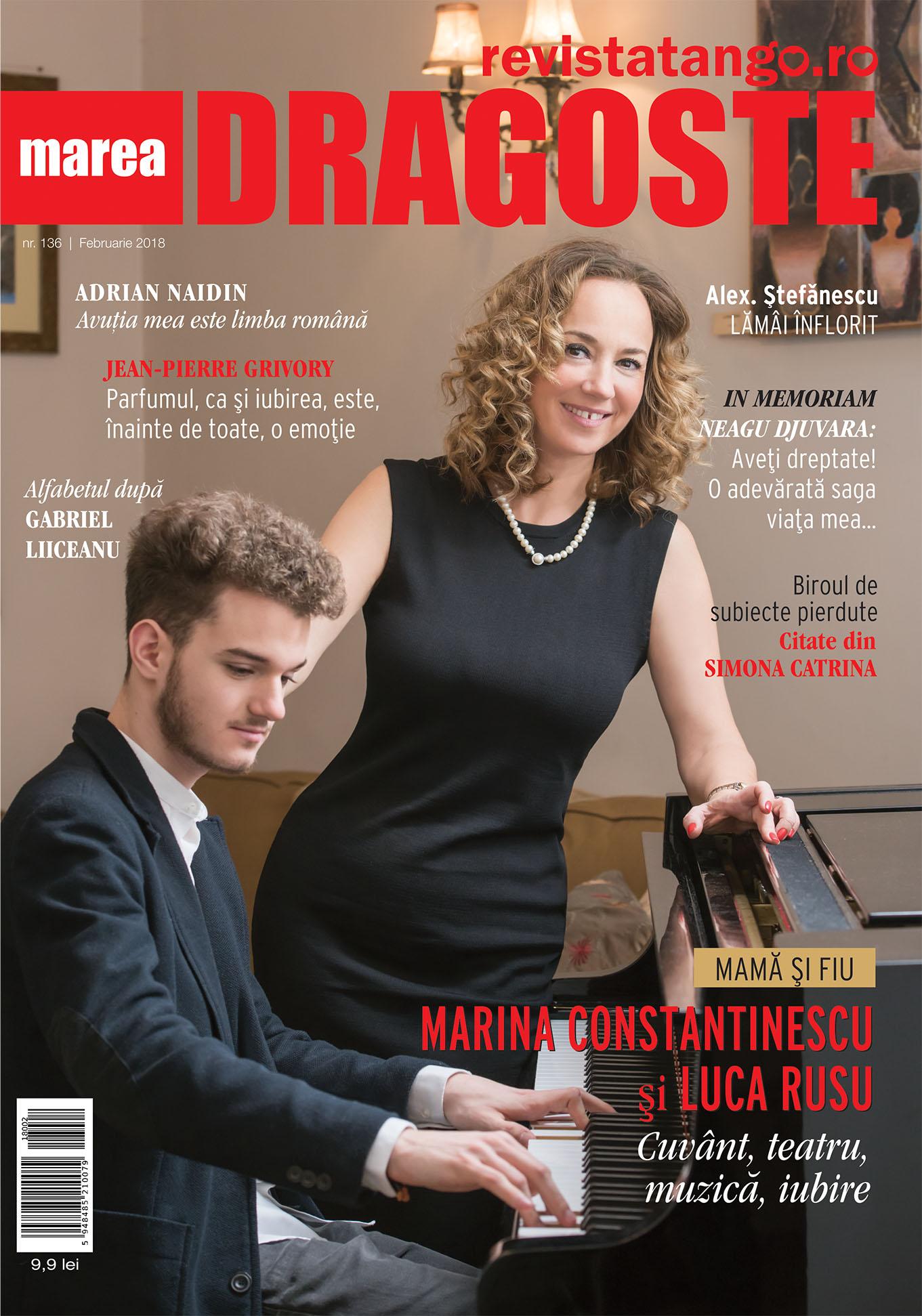 Marina Constantinescu si Luca Rusu pe coperta Marea Dragoste-revistatango.ro, nr. 136, februarie 2018
