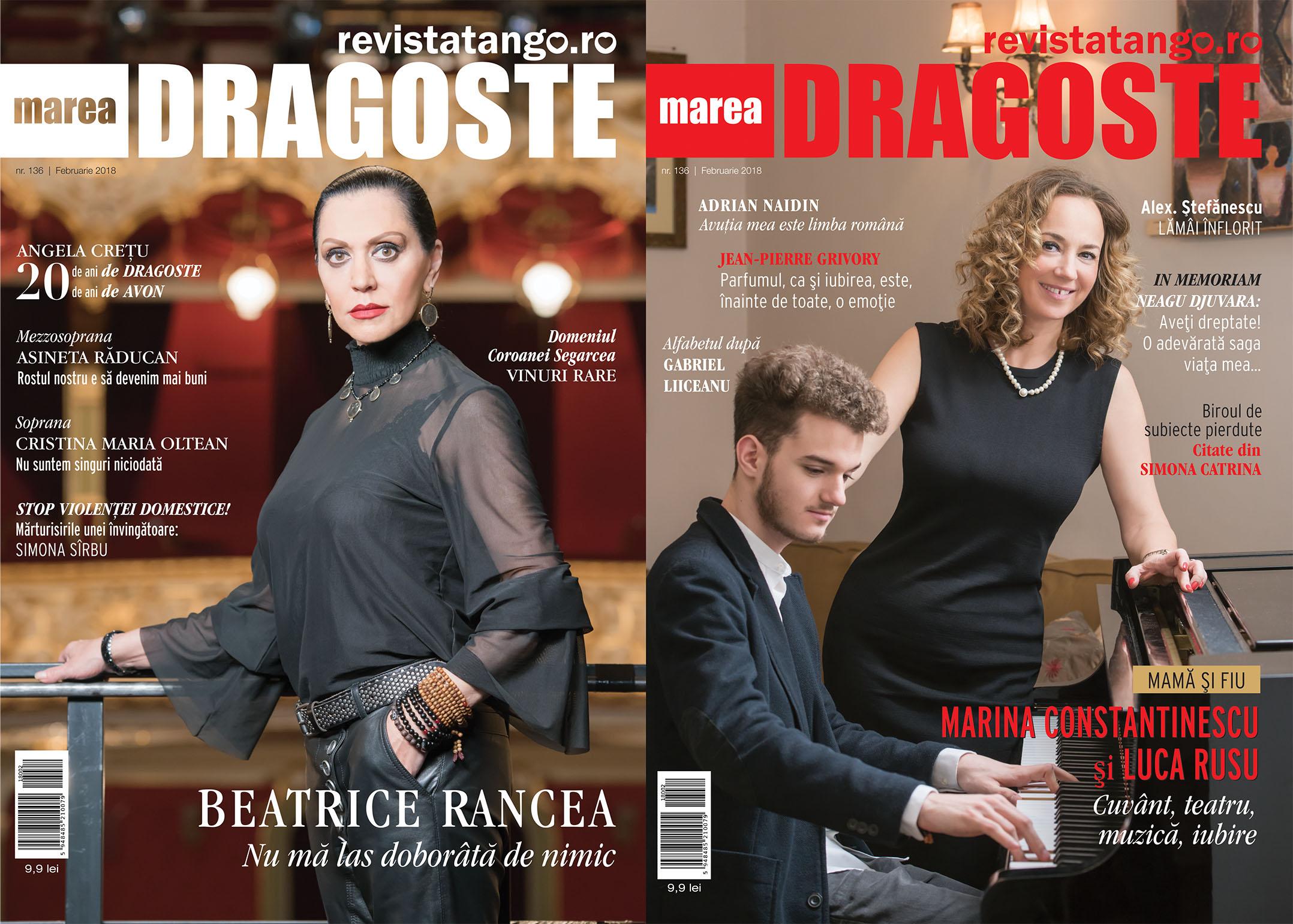 Beatrice Rancea, Marina Constantinescu si Luca Rusu pe copertele Marea Dragoste-revistatango.ro, nr. 136, februarie 2018