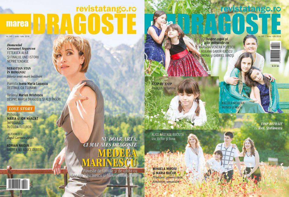 Medeea Marinescu, Alice Nastase Buciuta, Raluca Mohora, pe copertele Marea Dragoste-revistatango.ro, nr. 140, iunie-iulie 2018